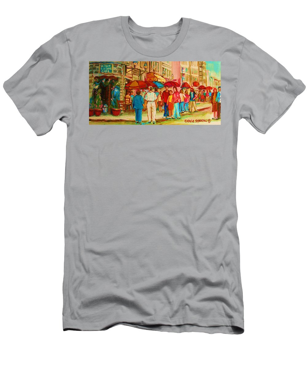 Cafe Scenes Men's T-Shirt (Athletic Fit) featuring the painting Cafe Crowds by Carole Spandau