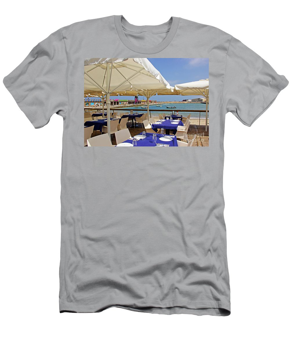 Cafe Men's T-Shirt (Athletic Fit) featuring the photograph Cafe In White And Purple by Zal Latzkovich