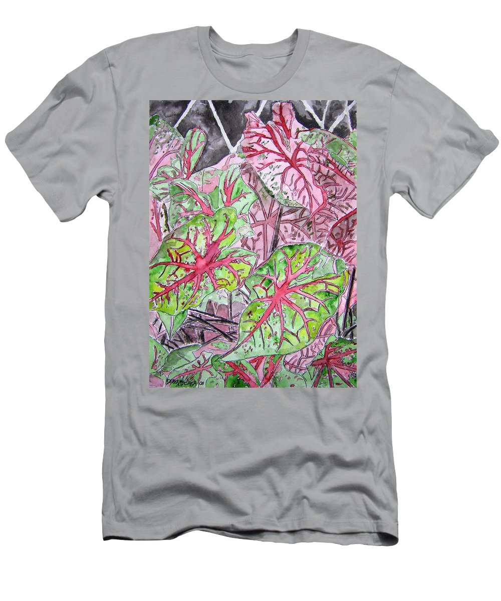 Watercolour Men's T-Shirt (Athletic Fit) featuring the painting Caladiums Tropical Plant Art by Derek Mccrea