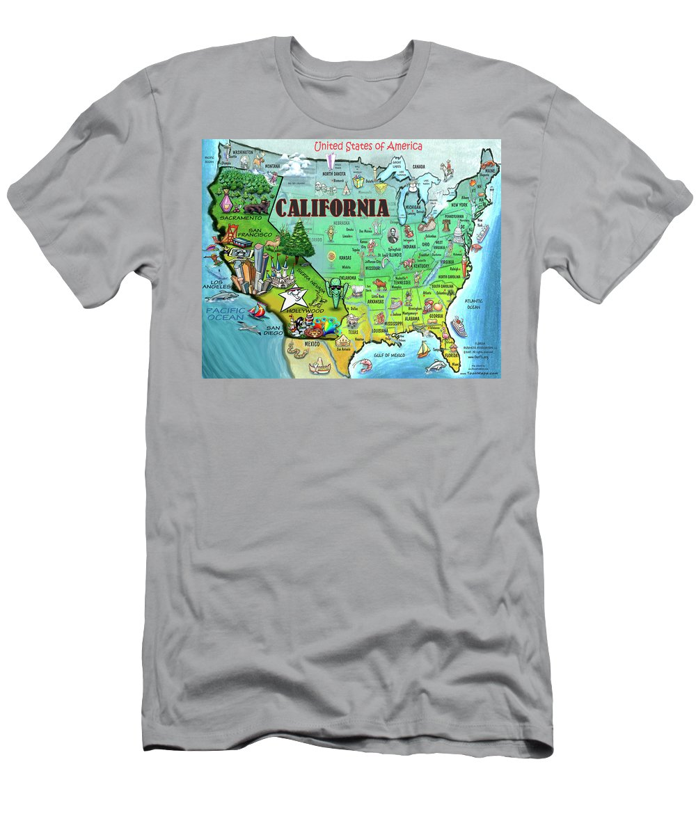 California Men's T-Shirt (Athletic Fit) featuring the digital art California Usa by Kevin Middleton