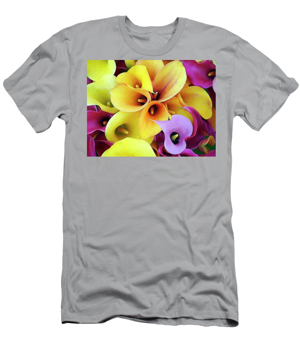 Flowers Men's T-Shirt (Athletic Fit) featuring the painting Calla Lilies by Dominic Piperata