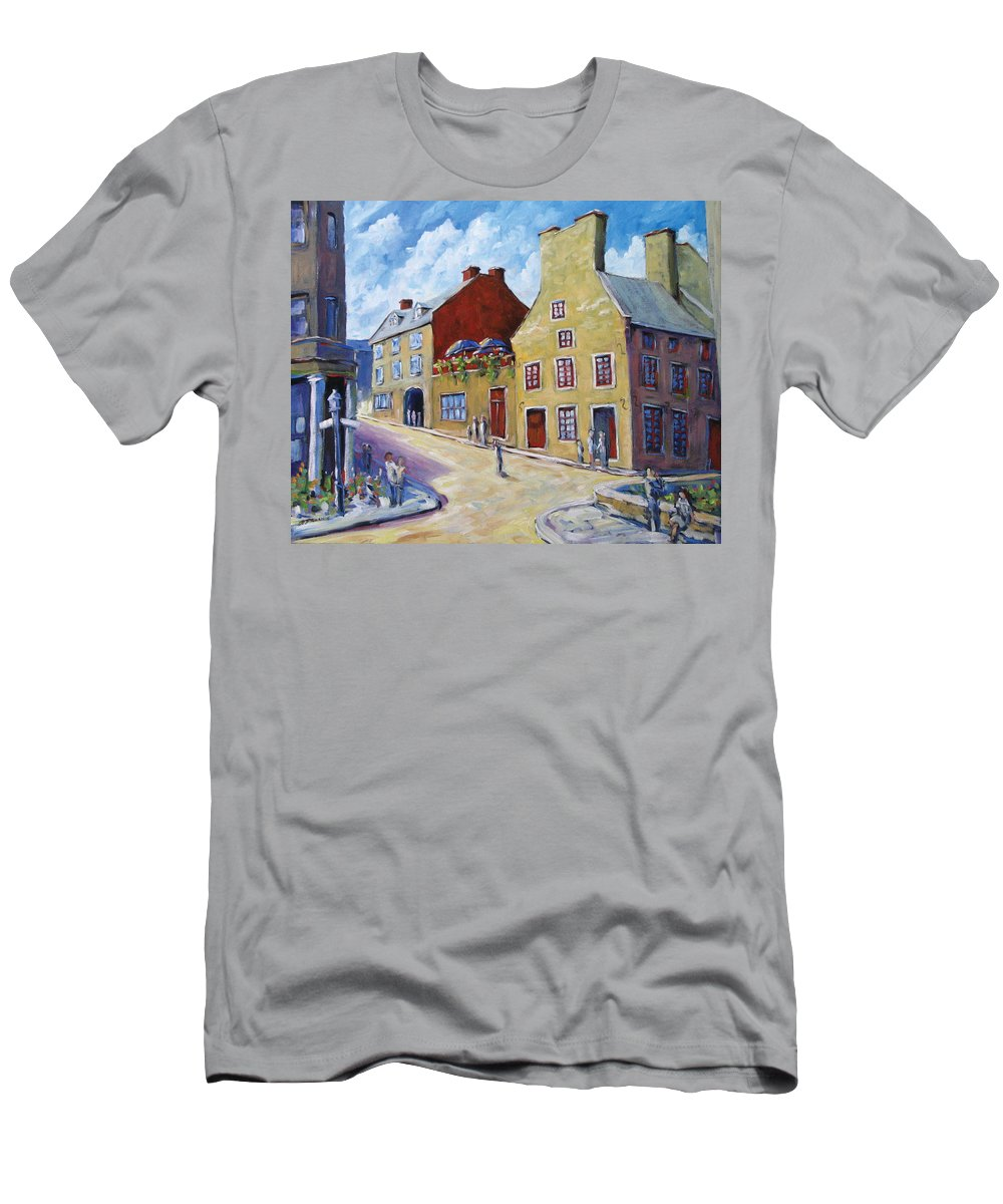 Rural Men's T-Shirt (Athletic Fit) featuring the painting Calvet House Old Montreal by Richard T Pranke