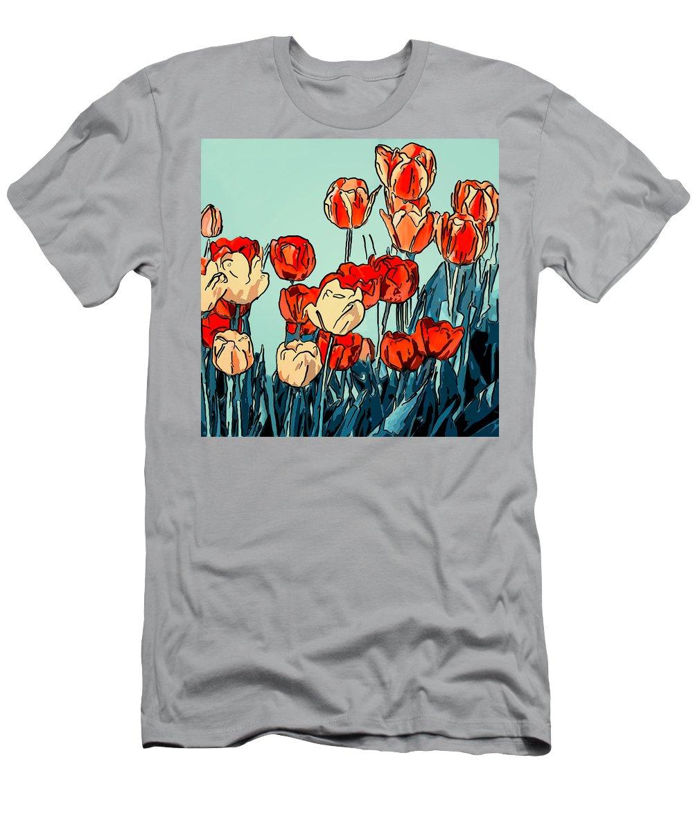 Steve Harrington Men's T-Shirt (Athletic Fit) featuring the photograph Camille's Tulips - Version 3 by Steve Harrington