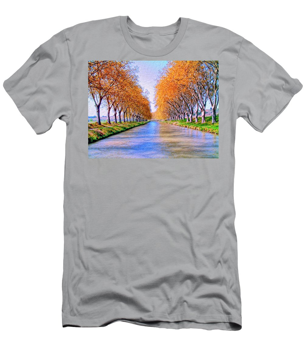 Canal Men's T-Shirt (Athletic Fit) featuring the painting Canal Du Midi by Dominic Piperata