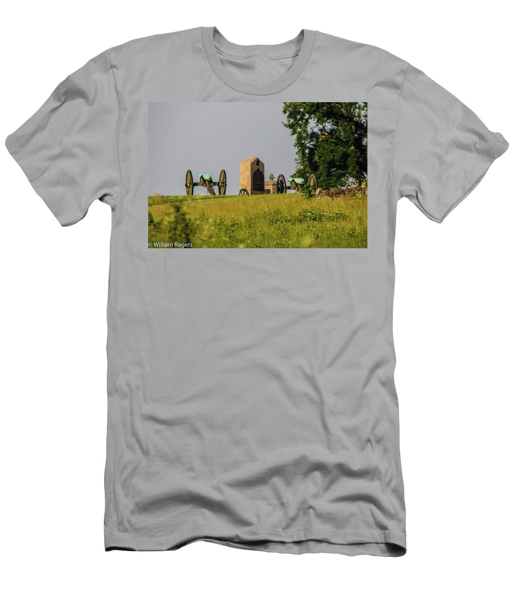 This Is A Photo Of Cannons Behind Hancock Avenue At The Gettysburg Battlefield Men's T-Shirt (Athletic Fit) featuring the photograph Cannons Behind Hancock Avenue by William Rogers