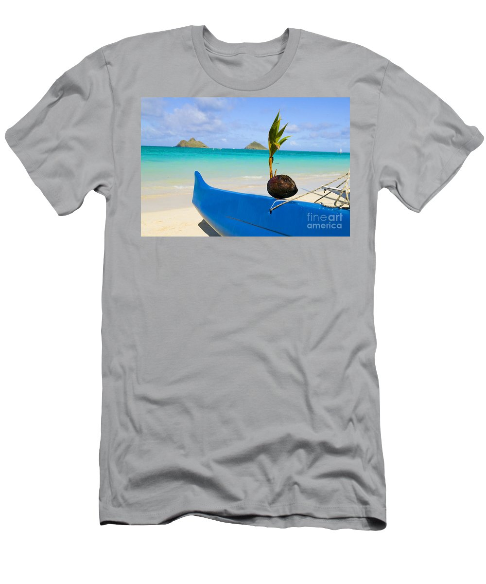 Ashore Men's T-Shirt (Athletic Fit) featuring the photograph Canoe And Coconut by Dana Edmunds - Printscapes