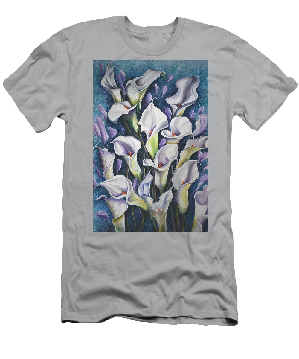 Caribbean T-Shirt featuring the painting Caribbean Callas by Karin Dawn Kelshall- Best