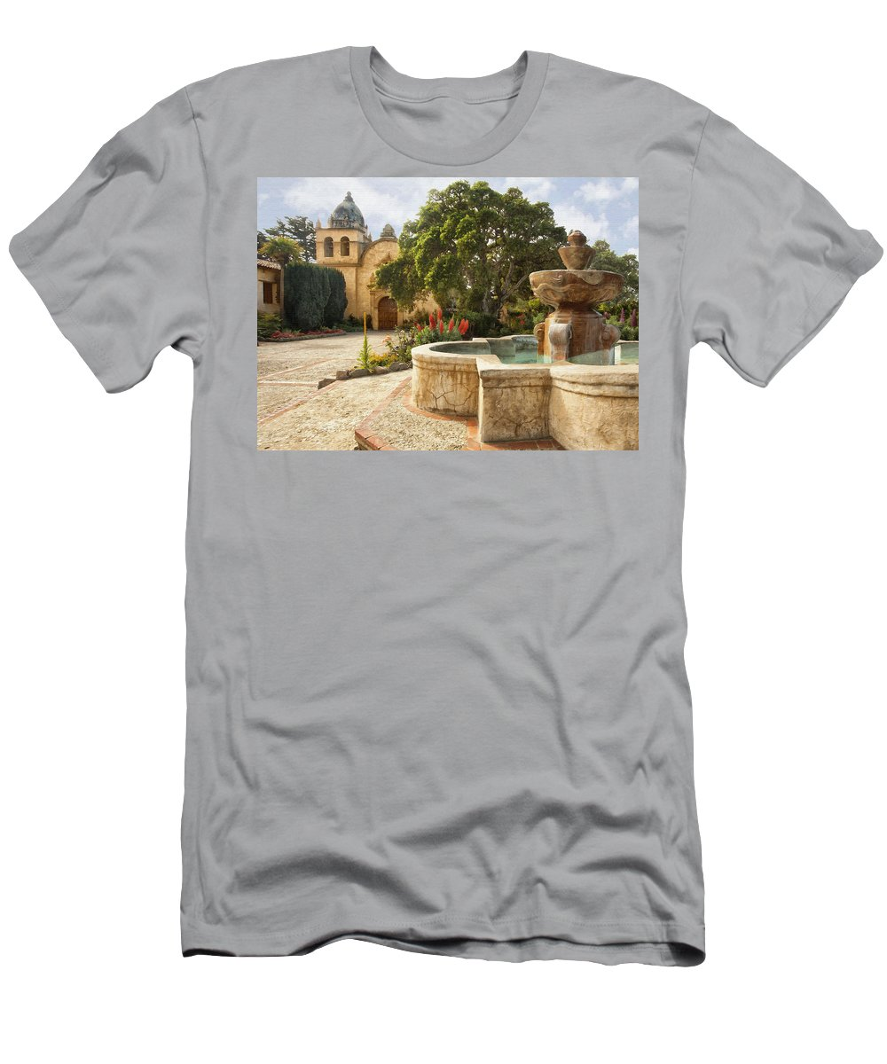Mission Men's T-Shirt (Athletic Fit) featuring the digital art Carmel Church And Fountain by Sharon Foster