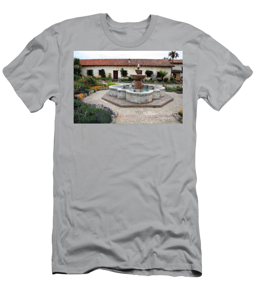 Catholic Men's T-Shirt (Athletic Fit) featuring the photograph Carmel Mission Courtyard by Carol Groenen