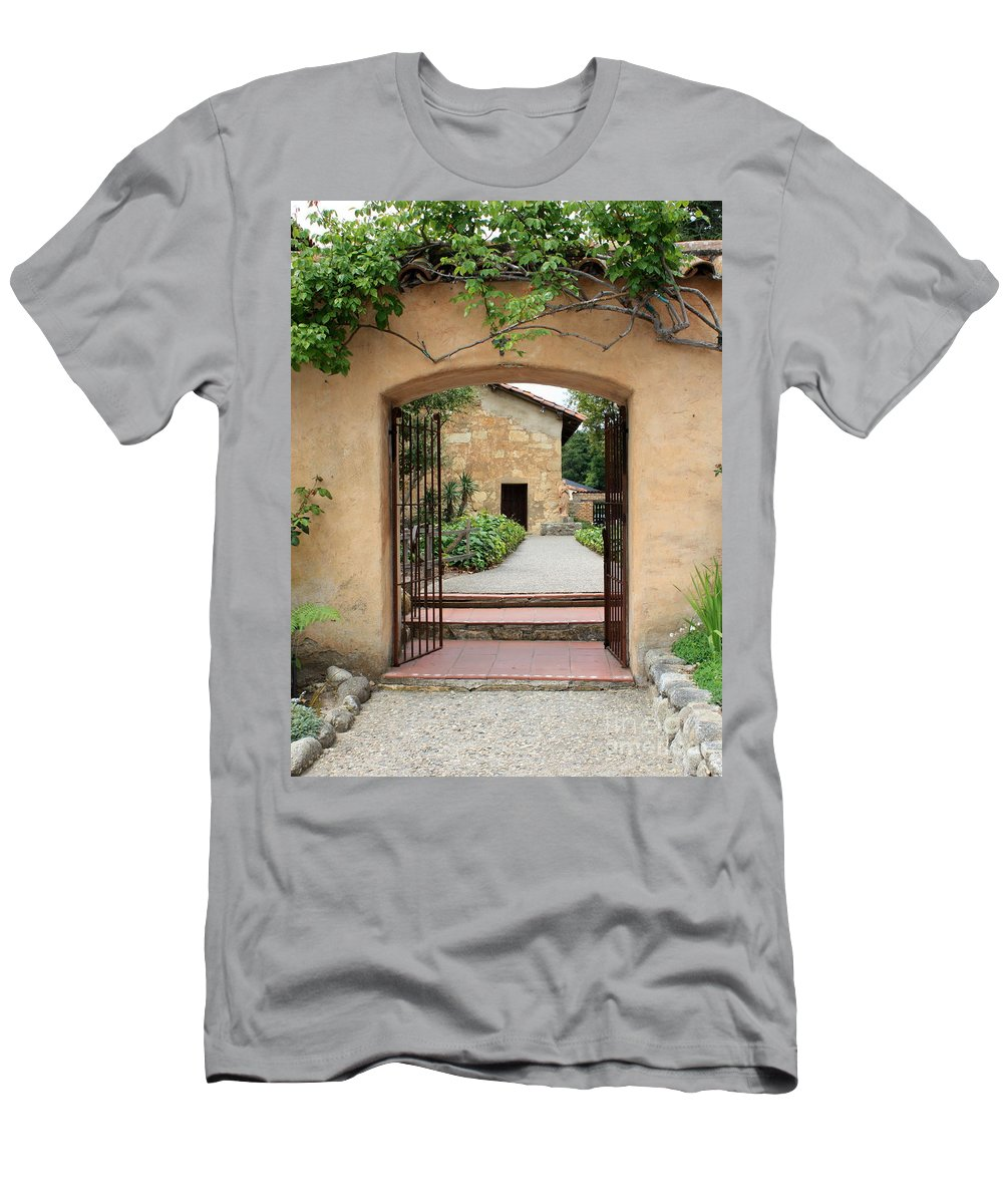 Carmel Mission Men's T-Shirt (Athletic Fit) featuring the photograph Carmel Mission Path by Carol Groenen