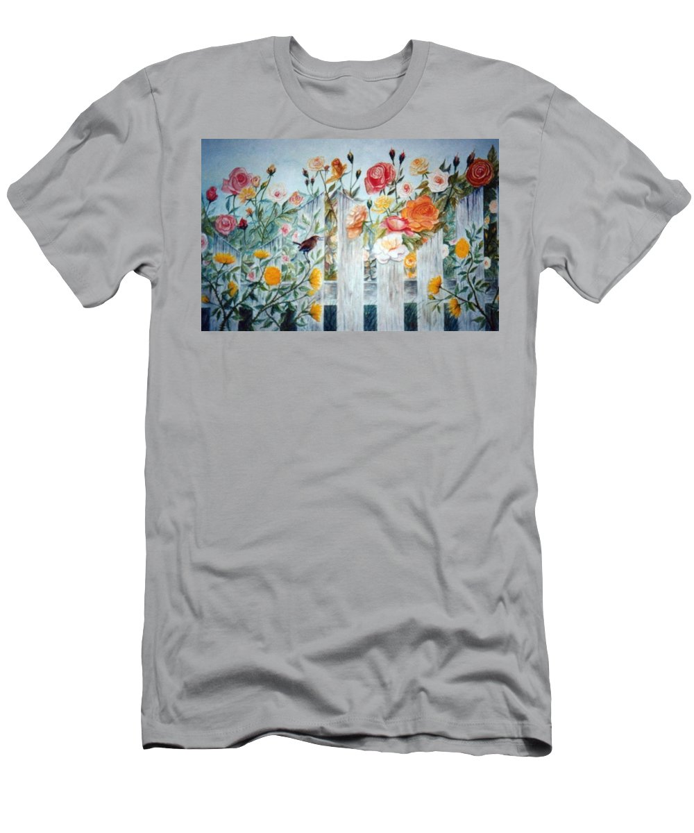 Roses; Flowers; Sc Wren Men's T-Shirt (Athletic Fit) featuring the painting Carolina Wren And Roses by Ben Kiger