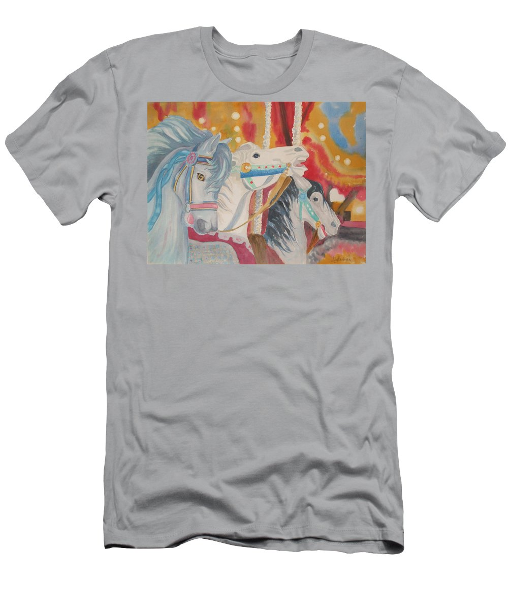 Carousel Men's T-Shirt (Athletic Fit) featuring the painting Carousel 1 by Ally Benbrook