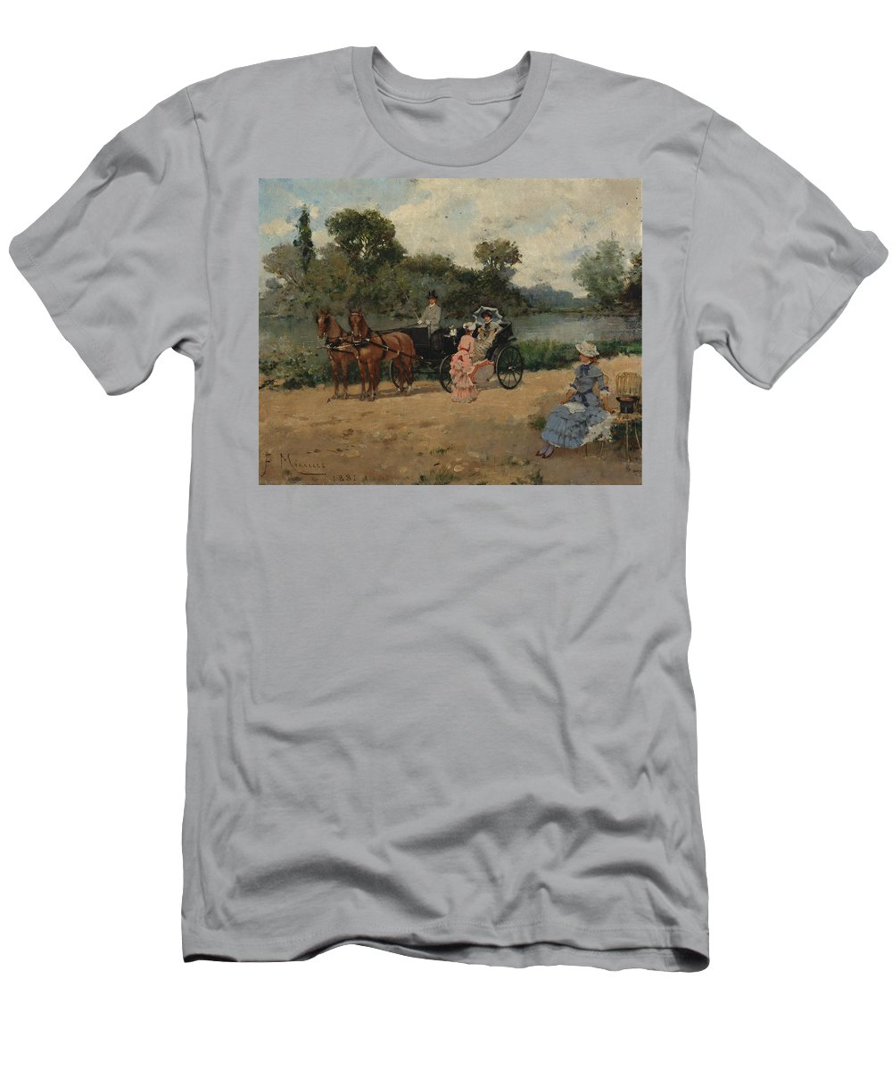 Francisco Miralles Men's T-Shirt (Athletic Fit) featuring the painting Carriage Ride By The River by Francisco Miralles