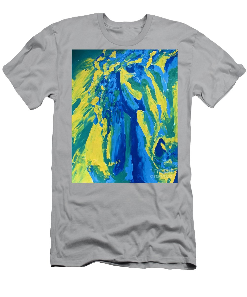 Horse Men's T-Shirt (Athletic Fit) featuring the painting Cash2 by Anna Katherine