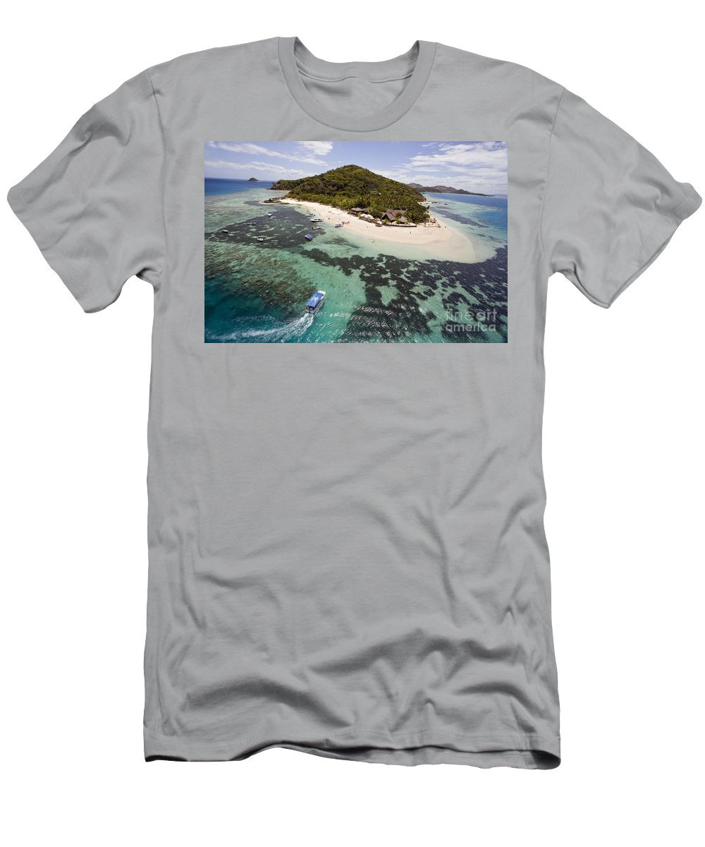 Aerial Men's T-Shirt (Athletic Fit) featuring the photograph Castaway Island Aerial by Dave Fleetham - Printscapes