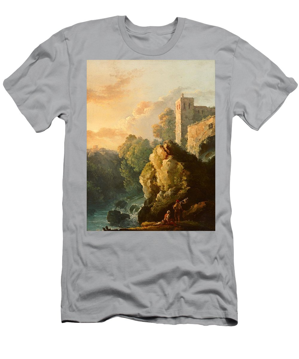 Painting Men's T-Shirt (Athletic Fit) featuring the painting Castle And Waterfall by Mountain Dreams