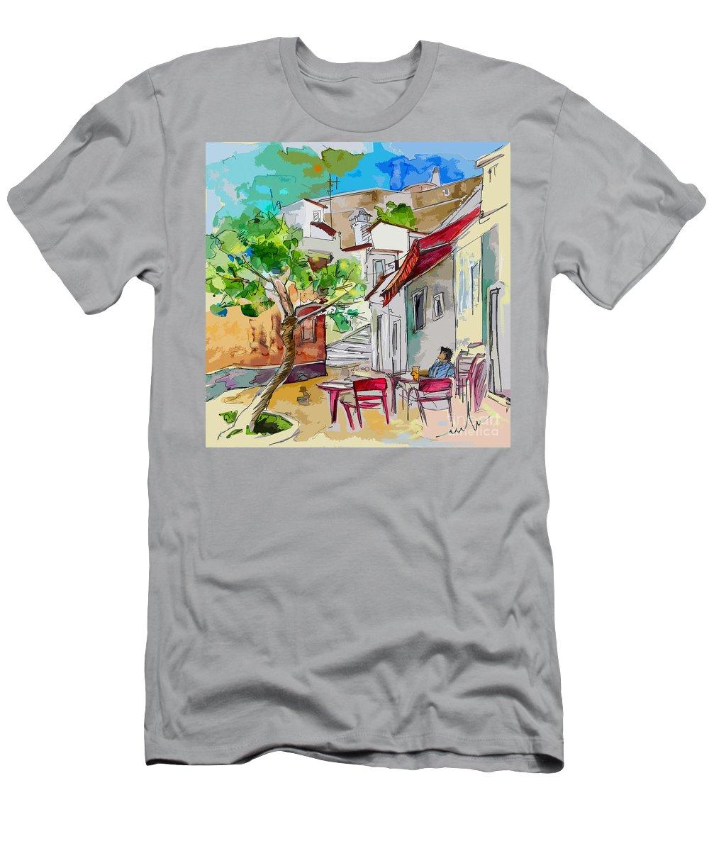 Castro Marim Portugal Algarve Painting Travel Sketch Men's T-Shirt (Athletic Fit) featuring the painting Castro Marim Portugal 01 Bis by Miki De Goodaboom