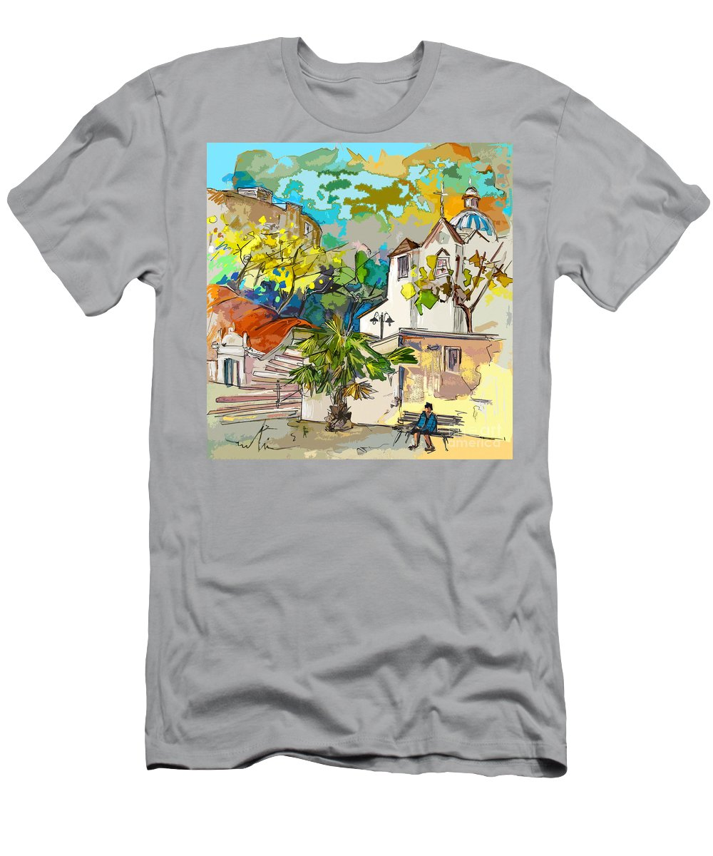 Castro Marim Portugal Algarve Painting Travel Sketch Men's T-Shirt (Athletic Fit) featuring the painting Castro Marim Portugal 13 Bis by Miki De Goodaboom