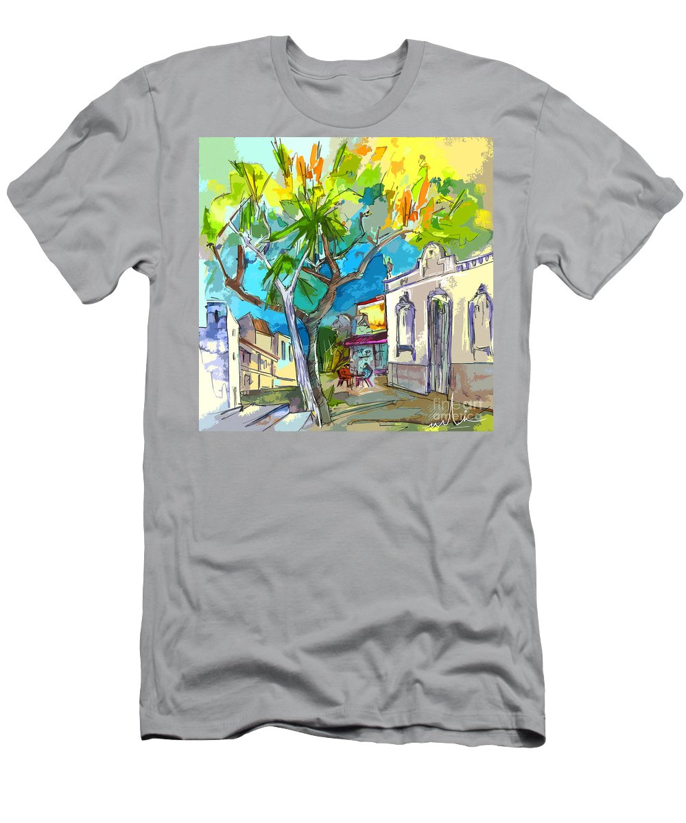 Castro Marim Portugal Algarve Painting Travel Sketch Men's T-Shirt (Athletic Fit) featuring the painting Castro Marim Portugal 14 Bis by Miki De Goodaboom