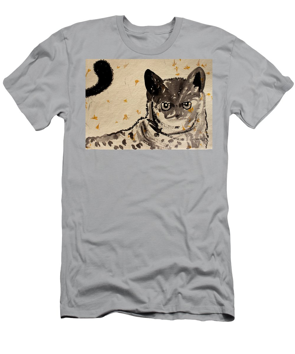 Cat Men's T-Shirt (Athletic Fit) featuring the painting Cat 3 by Santhosh Ch