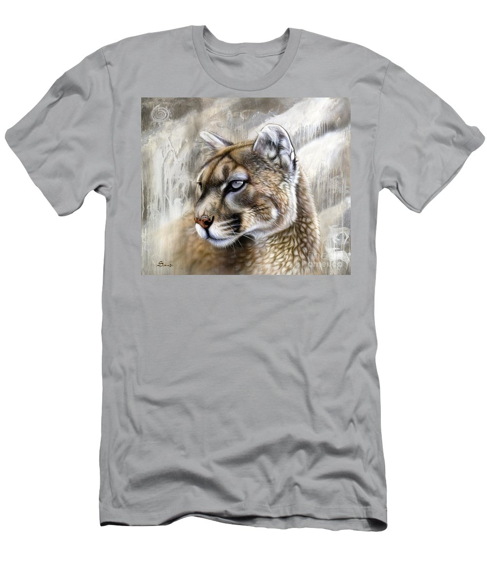 Acrylic Men's T-Shirt (Athletic Fit) featuring the painting Catamount by Sandi Baker