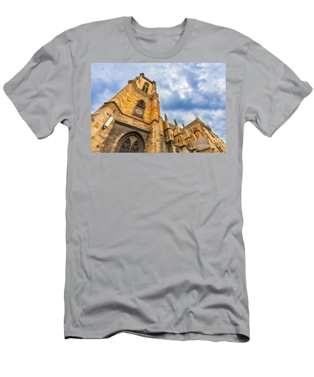 Alsace Men's T-Shirt (Athletic Fit) featuring the photograph Cathedral Of Colmar, Alsace,france by Marco Arduino