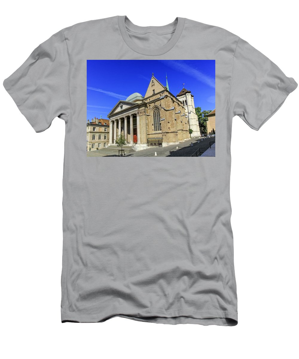 Geneva Men's T-Shirt (Athletic Fit) featuring the photograph Cathedral Saint-pierre In The Old City, Geneva, Switzerland by Elenarts - Elena Duvernay photo