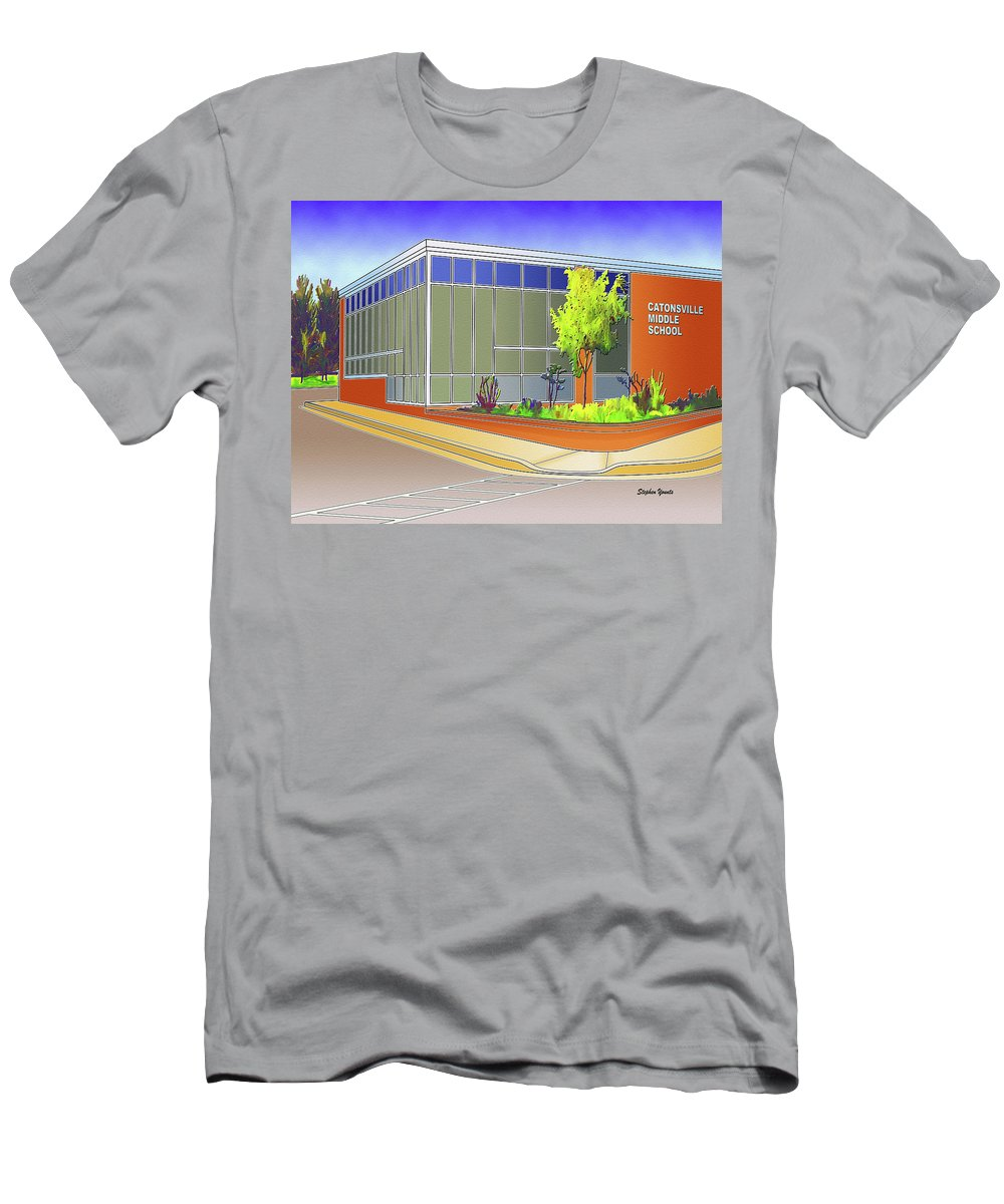 Catonsville Men's T-Shirt (Athletic Fit) featuring the digital art Catonsville Middle School by Stephen Younts