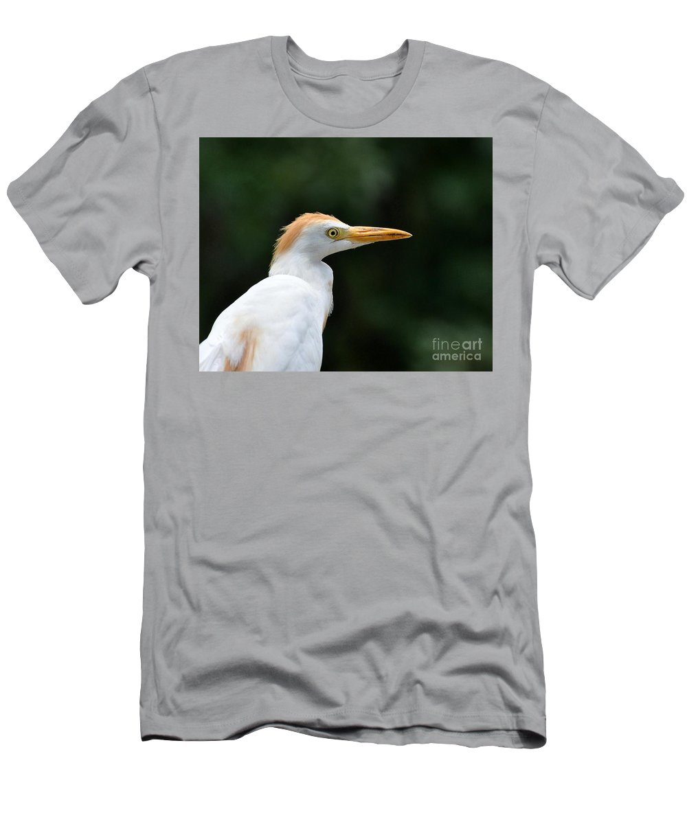 Egret Men's T-Shirt (Athletic Fit) featuring the photograph Cattle Egret Close-up by Al Powell Photography USA