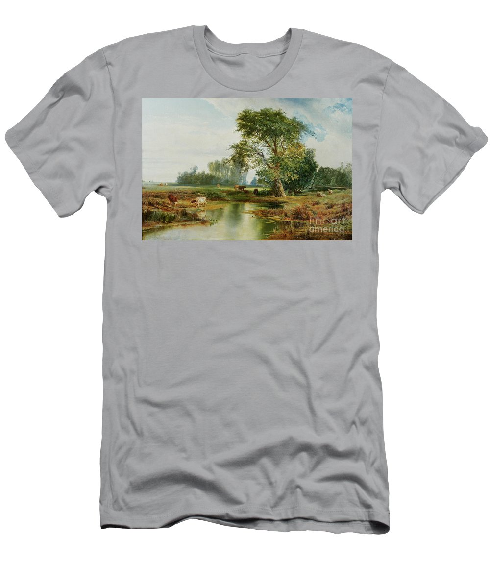 Cattle Watering Men's T-Shirt (Athletic Fit) featuring the painting Cattle Watering by Thomas Moran