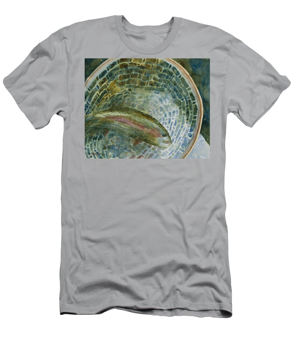 Angler Men's T-Shirt (Athletic Fit) featuring the painting Caught For A Moment by Mary Benke