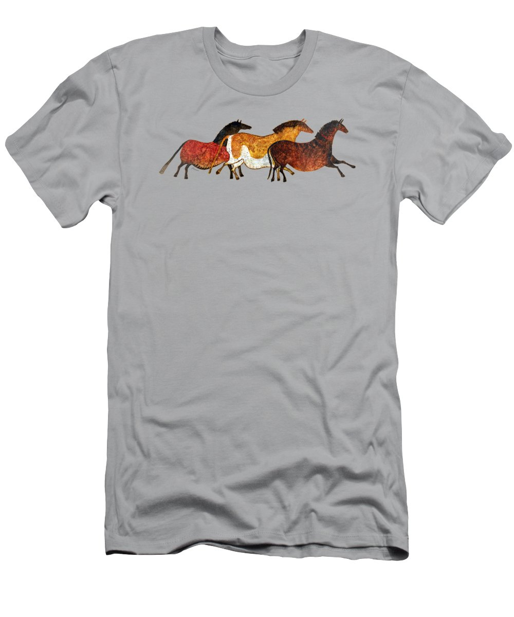 Cave T-Shirt featuring the painting Cave Horses In Beige by Hailey E Herrera