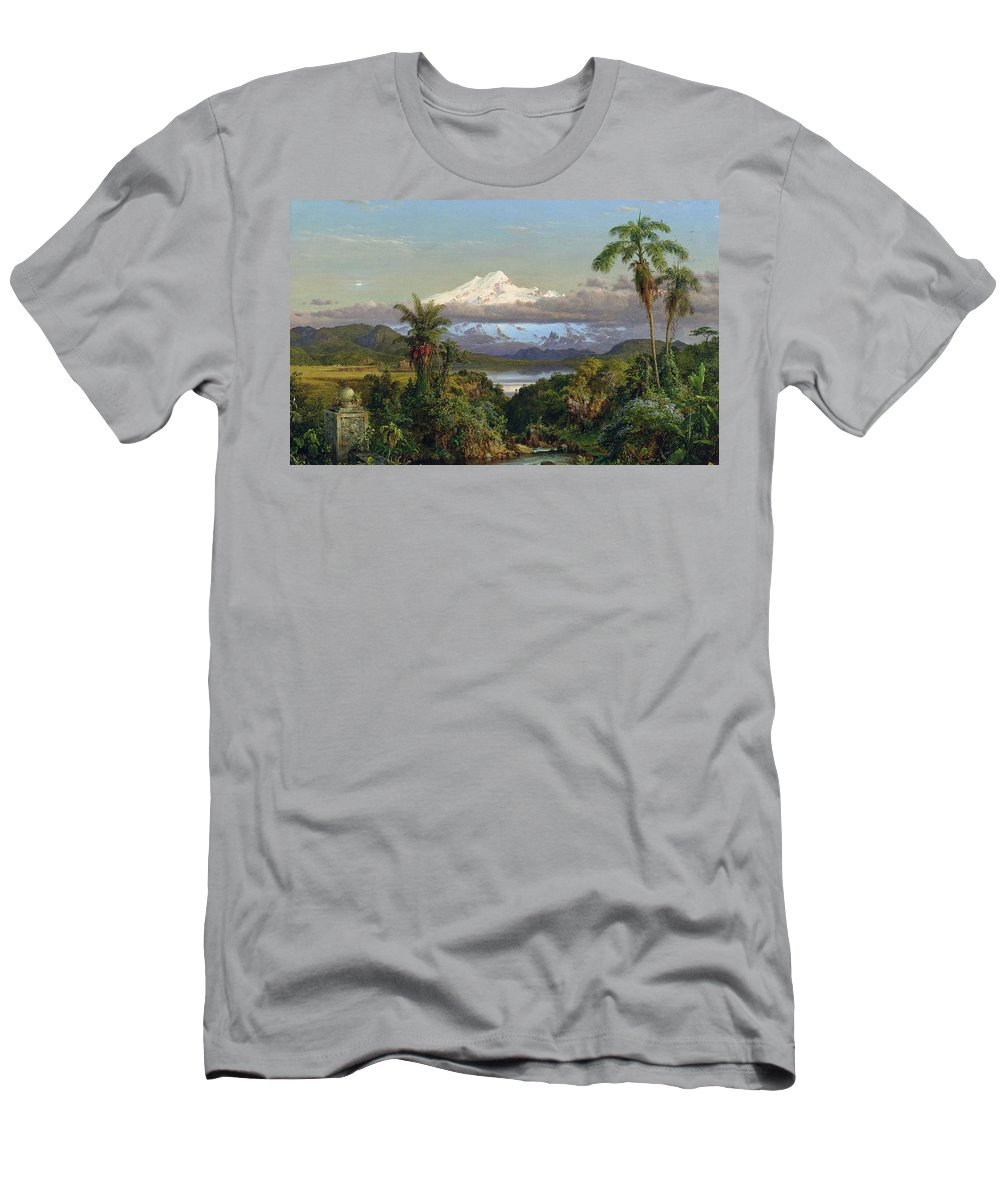 Snow; Mountain; Mountainous; Andes; Valley; Palm Tree; Landscape; Ecuador; Hudson River School; Men's T-Shirt (Athletic Fit) featuring the painting Cayambe by Frederic Edwin Church