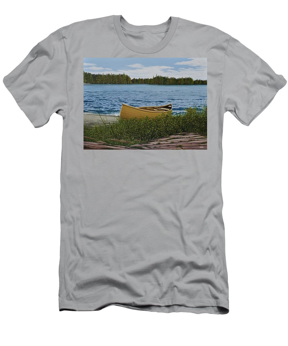 Landscapes Men's T-Shirt (Athletic Fit) featuring the painting Cedar Canoe by Kenneth M Kirsch