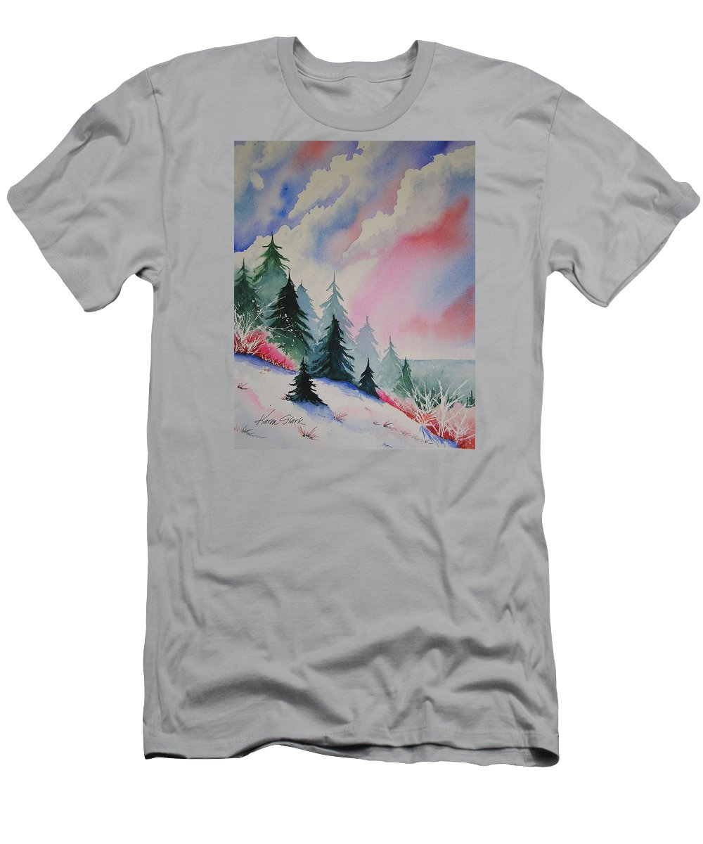 Snow Men's T-Shirt (Athletic Fit) featuring the painting Cedar Fork Snow by Karen Stark