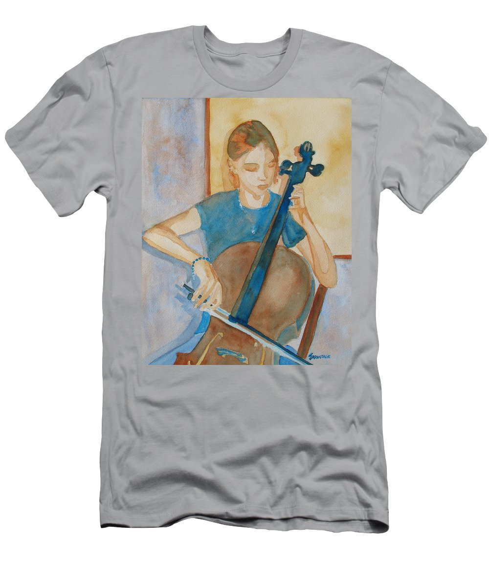Girl Men's T-Shirt (Athletic Fit) featuring the painting Cello Practice Iv by Jenny Armitage