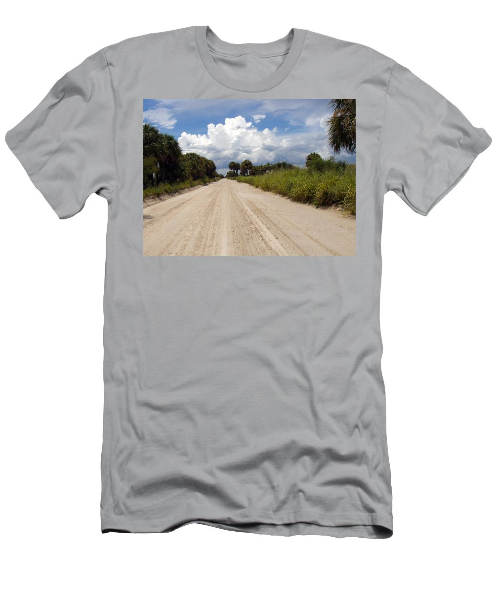 Florida; Road; Back; Backroad; Central; Dirt; Plow; Plowed; Clay; Mud; Muddy; Places; Unknown; Trave Men's T-Shirt (Athletic Fit) featuring the photograph Central Florida Back Road by Allan Hughes