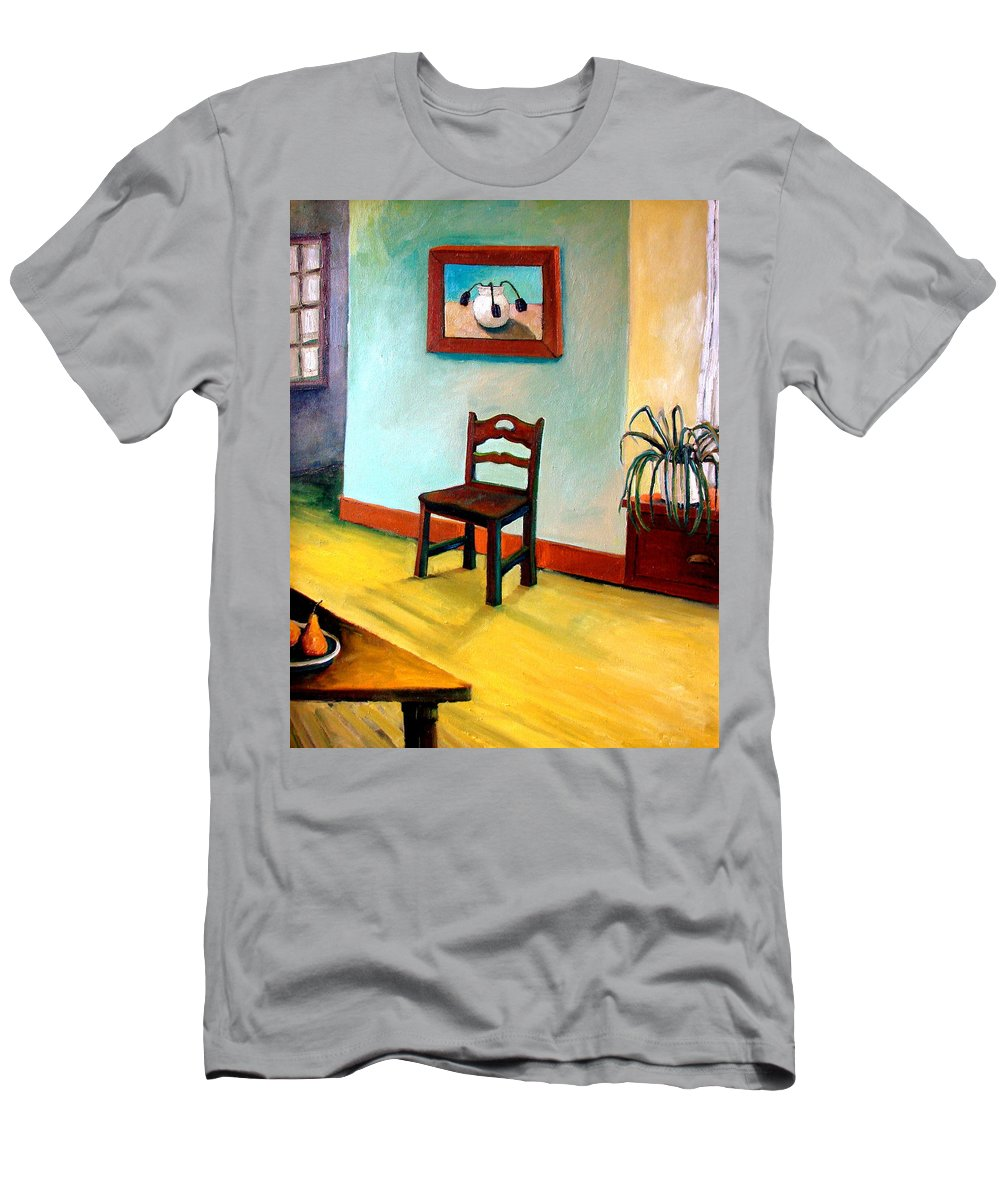 Apartment Men's T-Shirt (Athletic Fit) featuring the painting Chair And Pears Interior by Michelle Calkins