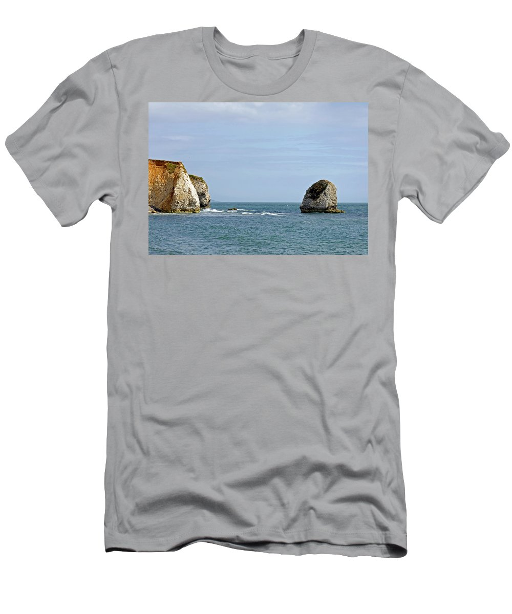 Freshwater Bay Men's T-Shirt (Athletic Fit) featuring the photograph Chalk Cliffs At Freshwater Bay by Rod Johnson