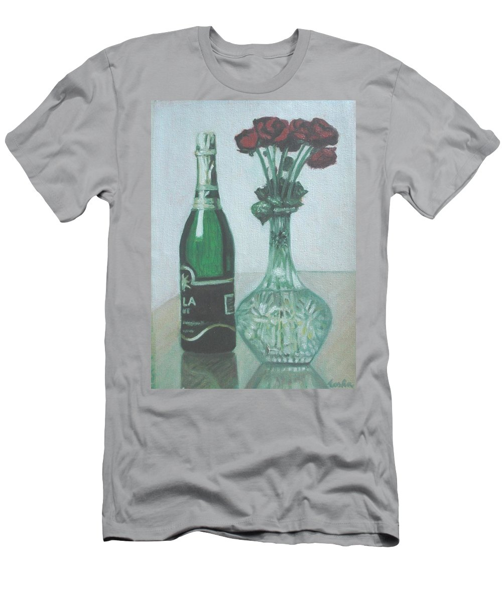 Champagne Men's T-Shirt (Athletic Fit) featuring the painting Champagne And Roses by Usha Shantharam
