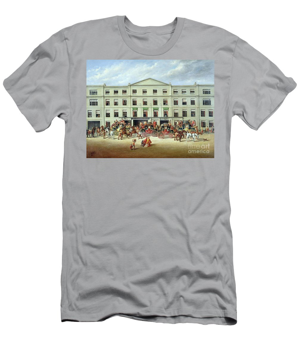 Changing Horses Outside The Plough Inn Men's T-Shirt (Athletic Fit) featuring the painting Changing Horses Outside The Plough Inn by JC Maggs