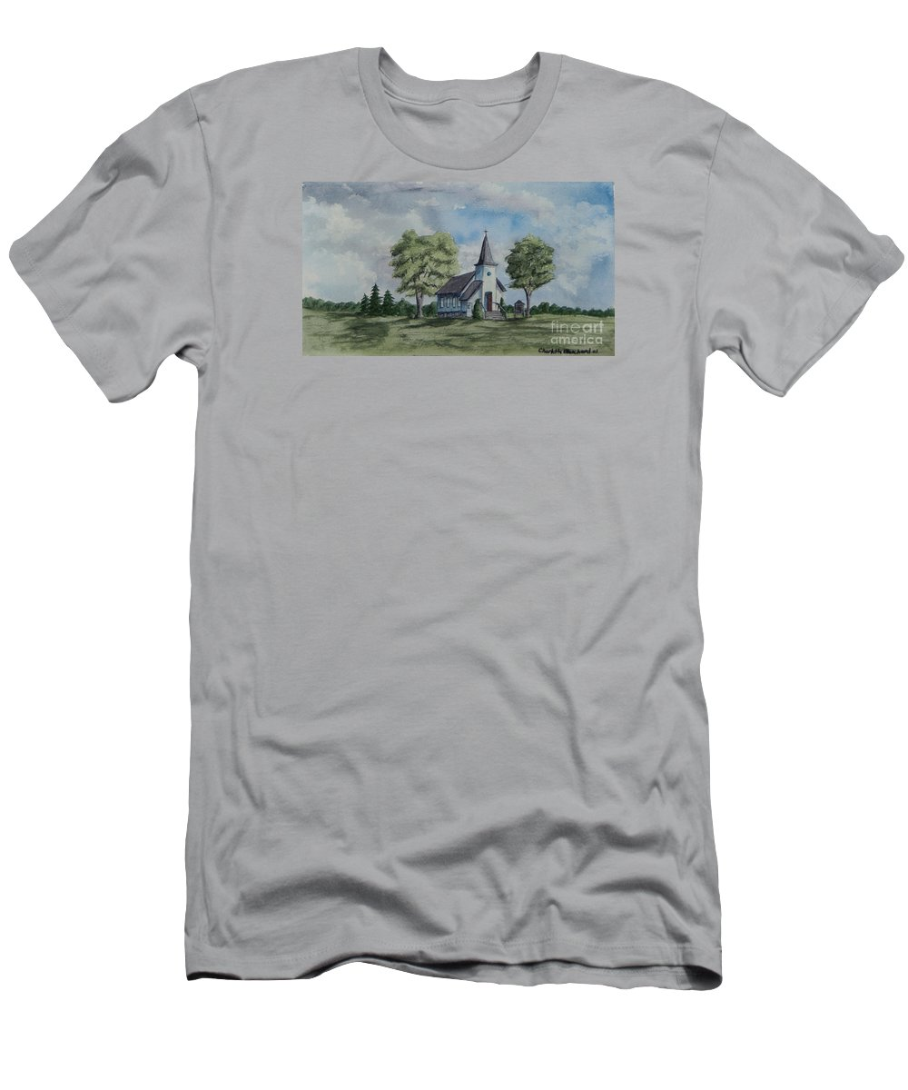 Country Summer Men's T-Shirt (Athletic Fit) featuring the painting Chapel In Summer by Charlotte Blanchard