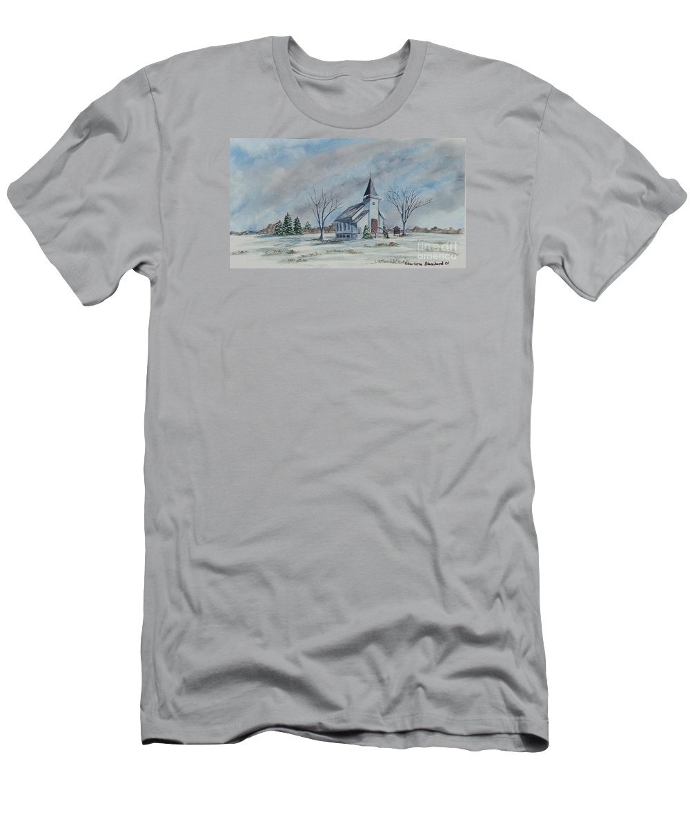 Country Church Men's T-Shirt (Athletic Fit) featuring the painting Chapel In Winter by Charlotte Blanchard