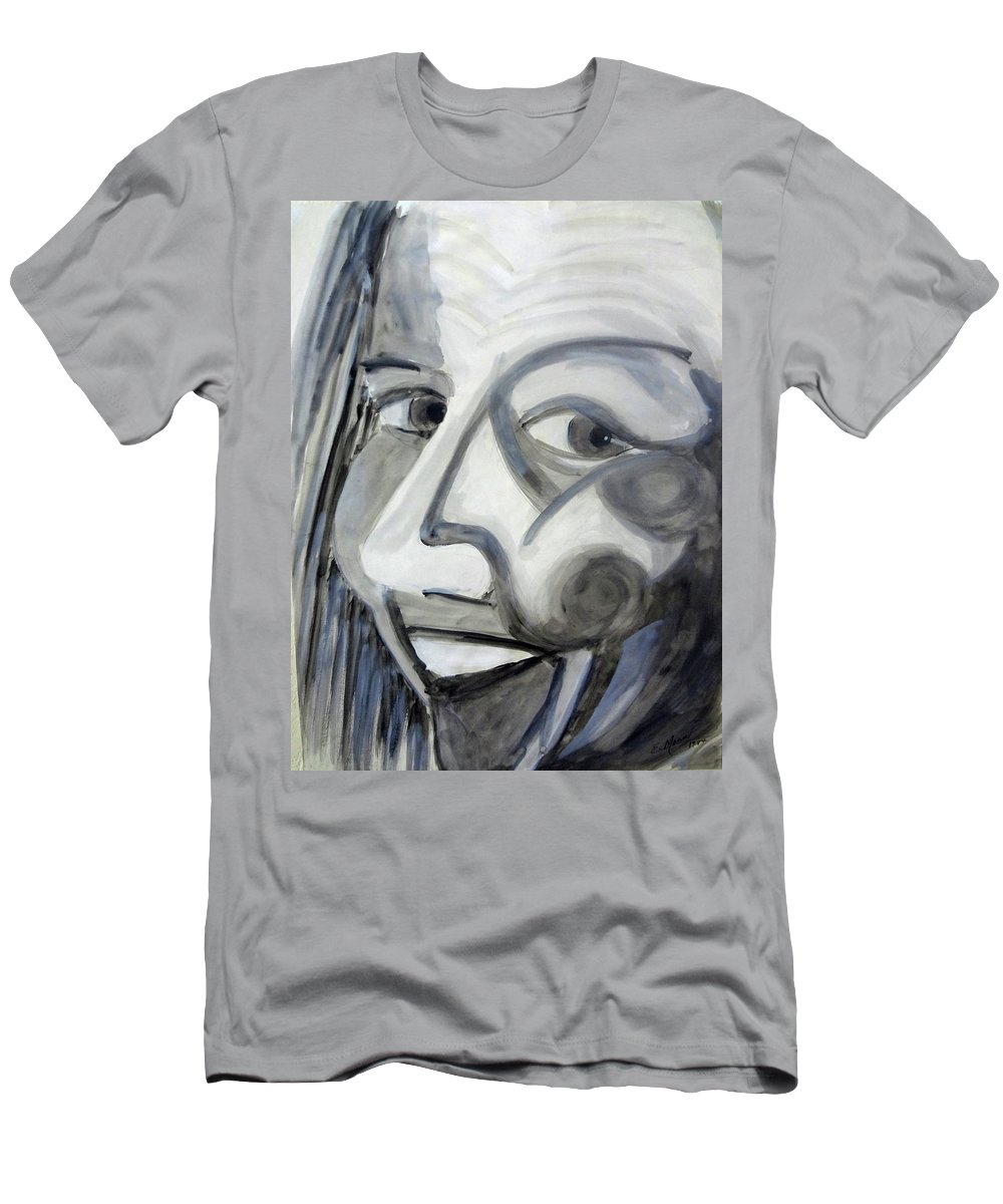 Black And White Men's T-Shirt (Athletic Fit) featuring the painting Character Actress 1984 by Ethel Mann