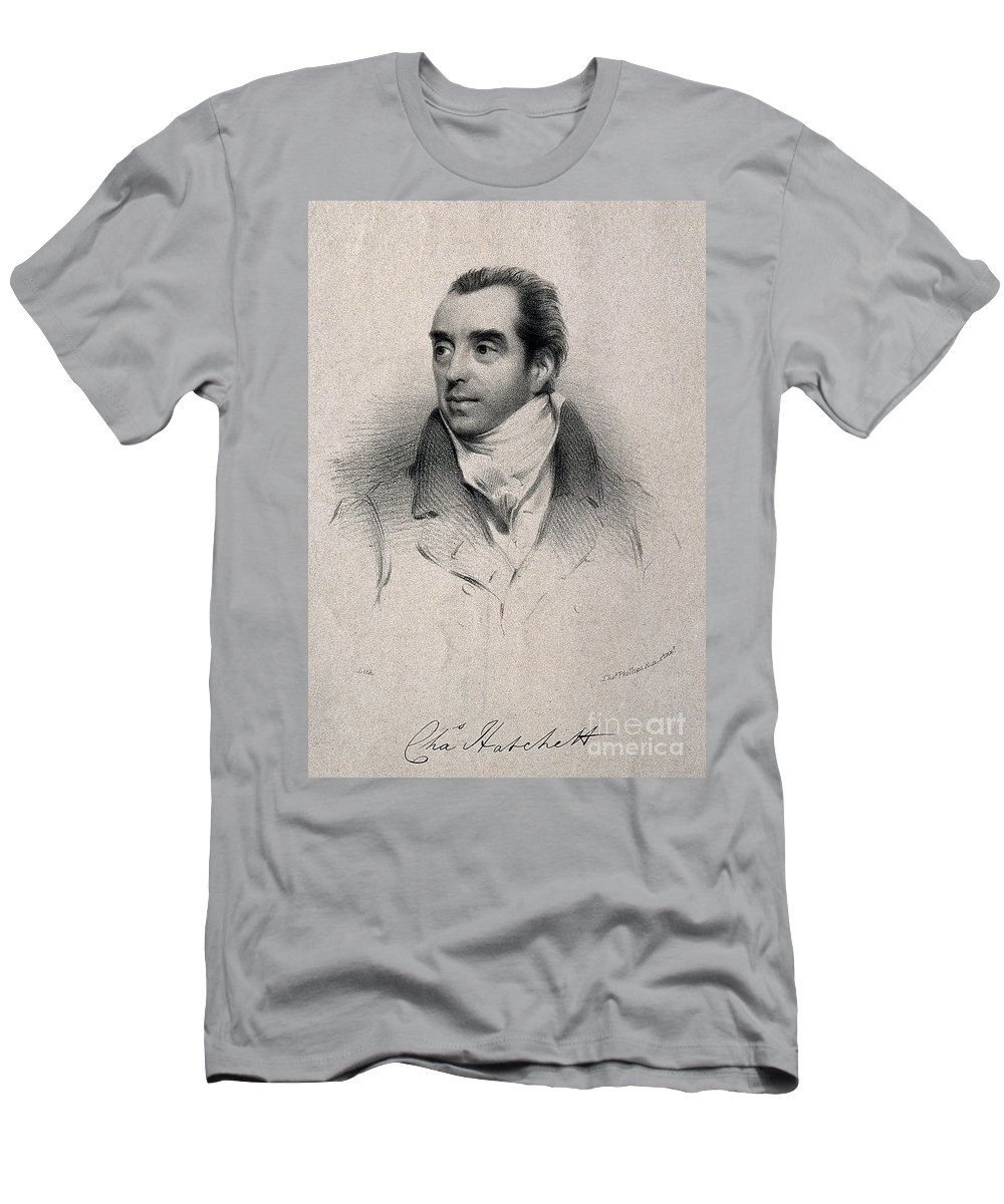Science Men's T-Shirt (Athletic Fit) featuring the photograph Charles Hatchett, English Chemist by Wellcome Images