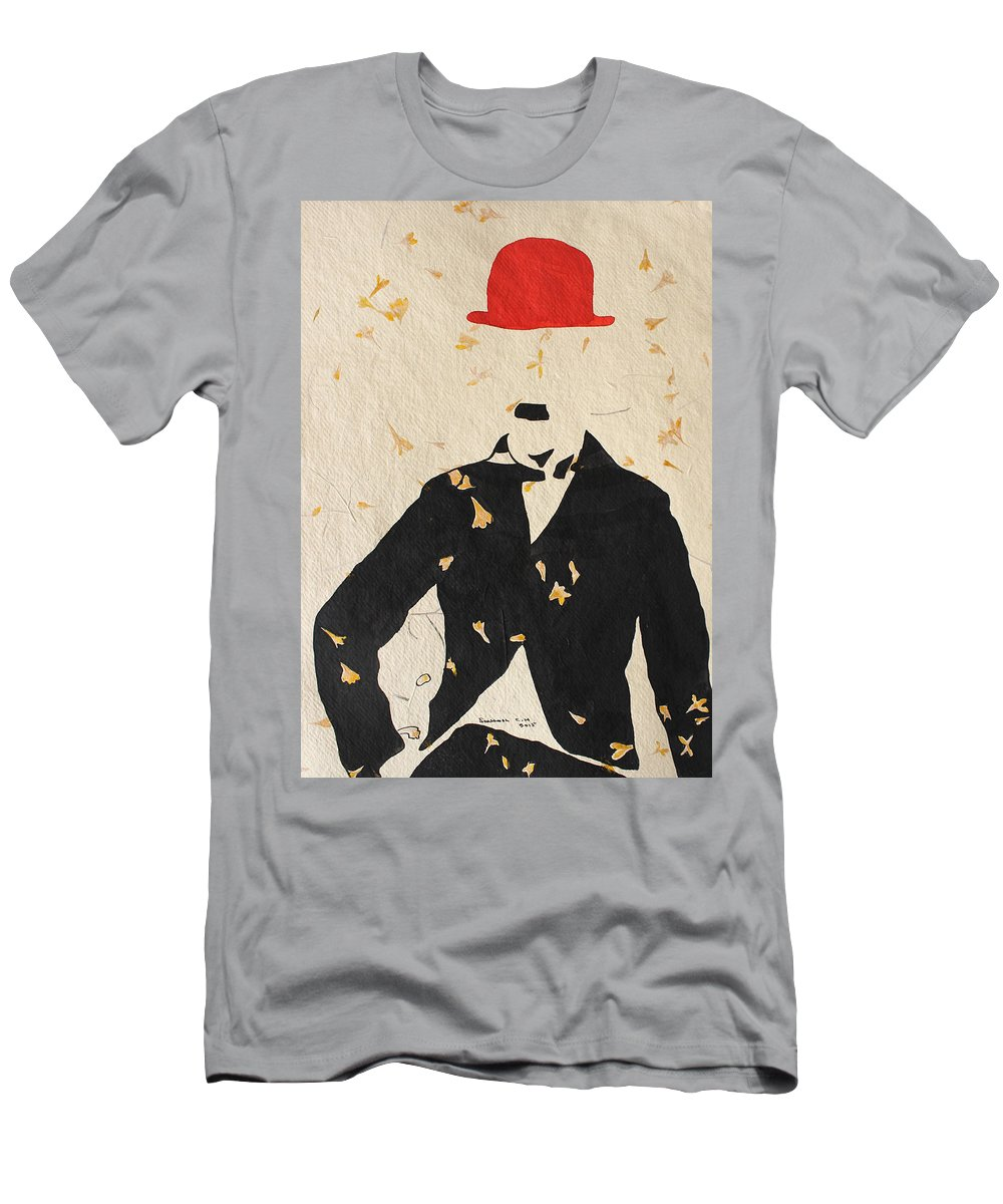 Ink Men's T-Shirt (Athletic Fit) featuring the painting Charlie Chaplin by Santhosh Ch
