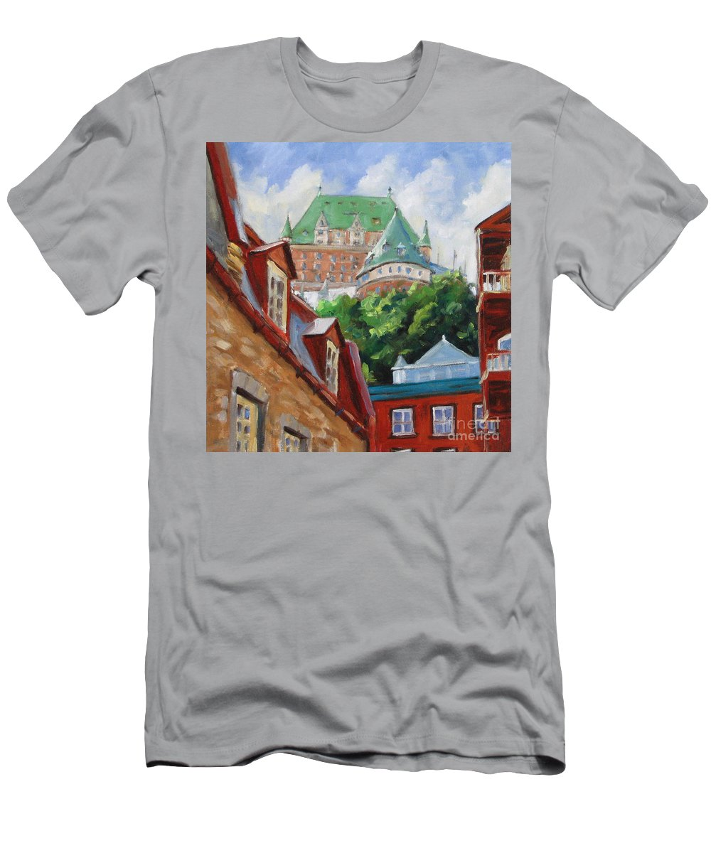 Chateau Frontenac T-Shirt featuring the painting Chateau Frontenac by Richard T Pranke