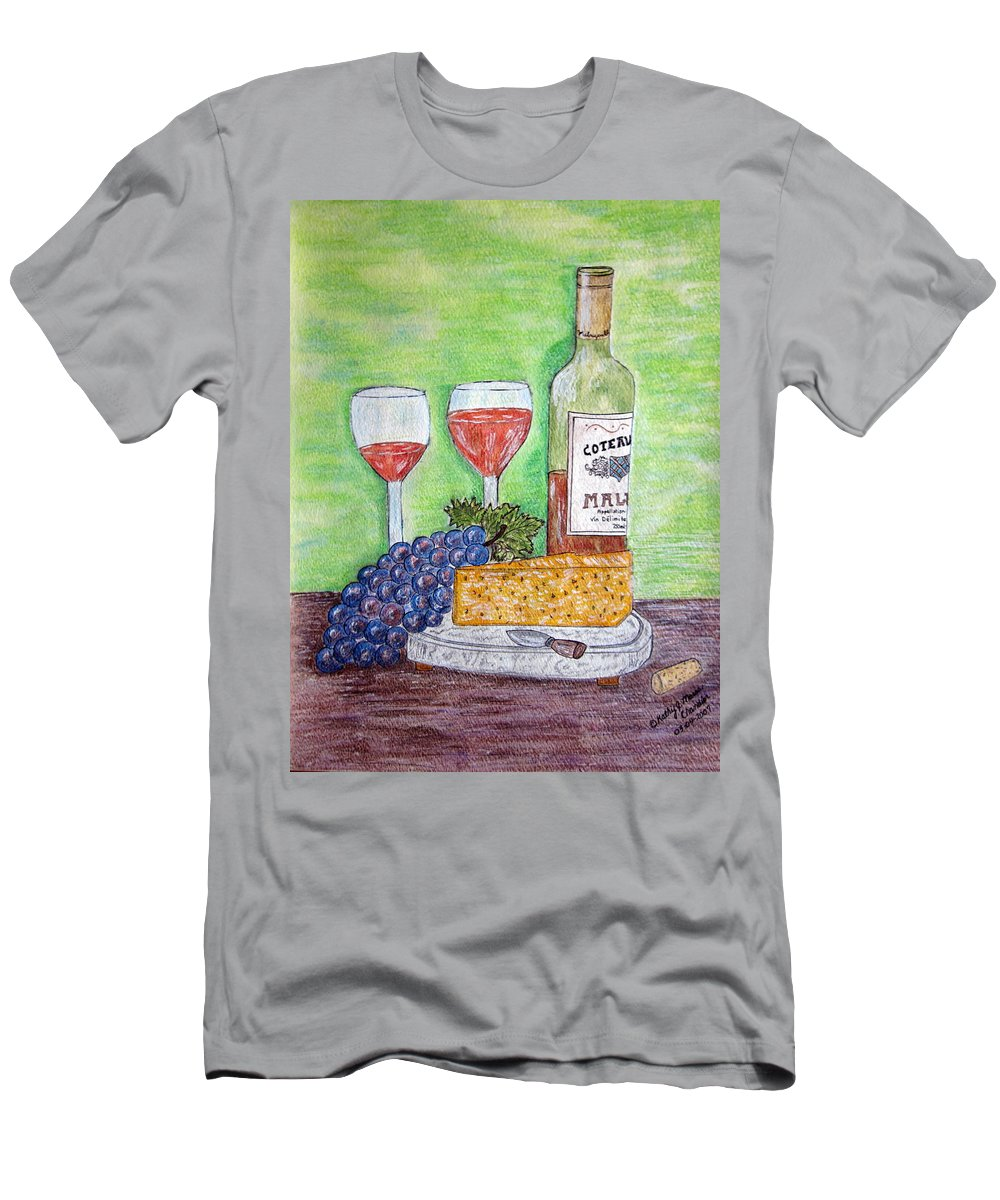 Cheese Men's T-Shirt (Athletic Fit) featuring the painting Cheese Wine And Grapes by Kathy Marrs Chandler