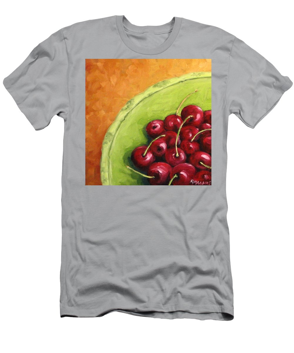 Art Men's T-Shirt (Athletic Fit) featuring the painting Cherries Green Plate by Richard T Pranke