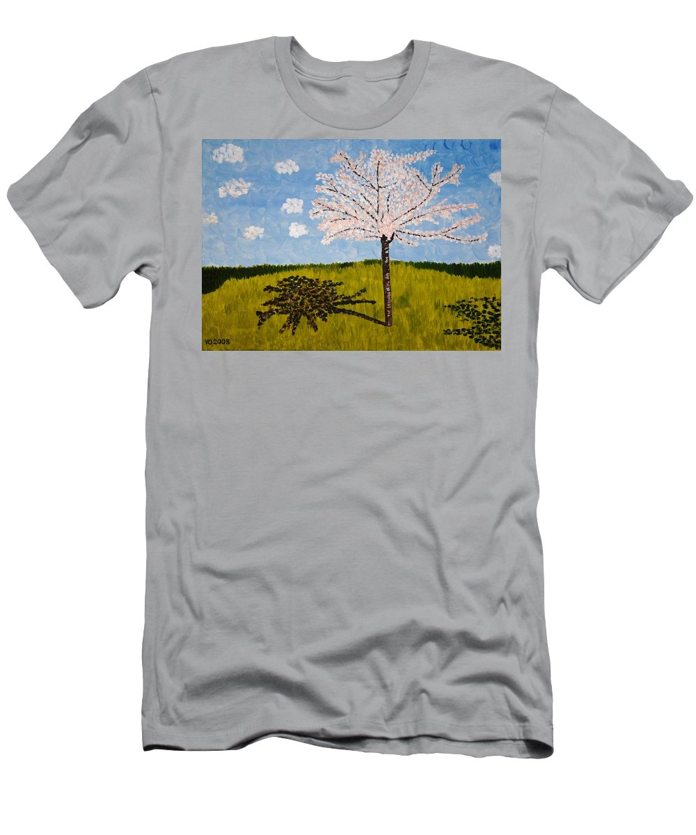 Cherry Men's T-Shirt (Athletic Fit) featuring the painting Cherry Blossom Tree by Valerie Ornstein
